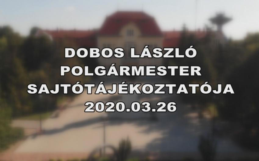 DOBOS LÁSZLÓ SAJTÓTÁJÉKOZTATÓJA